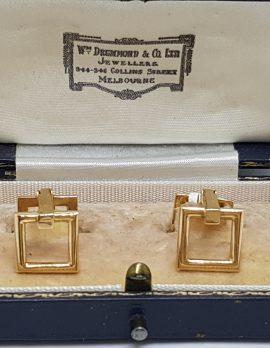 18ct Yellow Gold Square Shape Cufflinks - Vintage / Antique