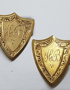 "9ct Yellow Gold Initialled ""H.B."" Ornate Shield Shape Cufflinks - Vintage / Antique"