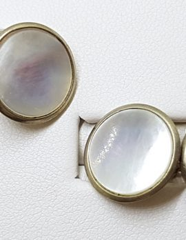 9ct Gold Round Mother of Pearl Round Cufflinks - Vintage / Antique