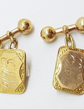 "9ct Yellow Gold Initialled ""W.V.B."" Ornate Rectangular Shape Cufflinks - Vintage / Antique"