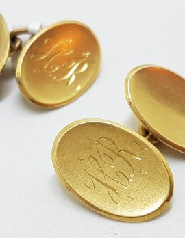 "15ct Yellow Gold Initialled ""H.R."" Oval Cufflinks - Vintage / Antique"