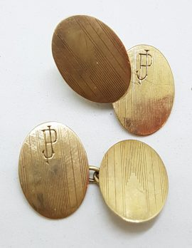"9ct Yellow Gold Initialled ""J.P."" Oval Cufflinks - Vintage / Antique"