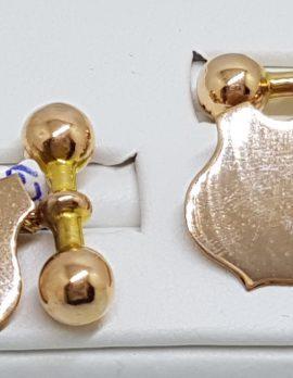 9ct Rose Gold Shield Shape Cufflinks - Vintage / Antique