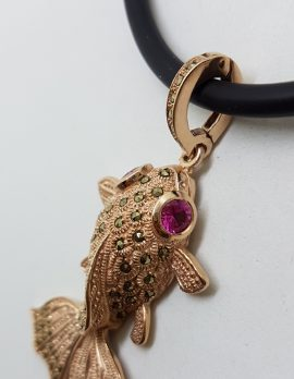 Sterling Silver Rose Gold Plated Large Fish Pendant on Neoprene Necklace - With Marcasite and Pink Cubic Zirconia