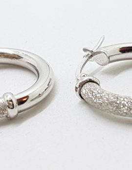 18ct White Gold Star Dust Pattern Hoop Earrings
