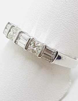 18ct White Gold Princess Cut / Square and Baguette Diamond Eternity / Wedding Band Ring