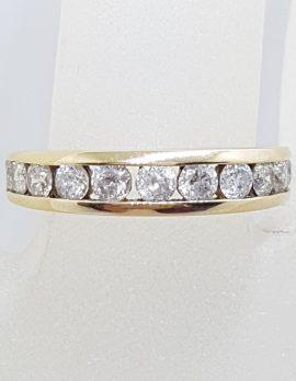 9ct Yellow Gold 10 Diamonds Channel Set Eternity / Band Ring