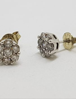 10ct Yellow Gold Daisy Shape Cluster Diamond Stud Earrings - Studs