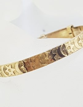 Gold Lined Baby Bangle with Crescent Moon and Star Pattern - Antique / Vintage
