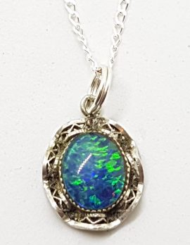 Sterling Silver Dainty and Ornate Opal Pendant on Silver Chain - Antique / Vintage