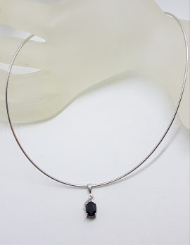 9ct White Gold Oval Sapphire with Diamond Pendant on Gold Choker Necklace
