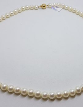 9ct Yellow Gold Clasp on Pearl Strand / Necklace