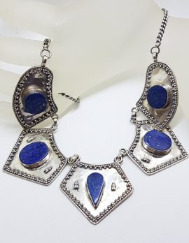 Sterling Silver Large Ornate Lapis Lazuli Collier Choker Chain / Necklace