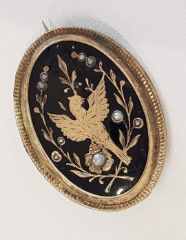 Gold Lined Oval Mourning Locket with Bird Motif Brooch