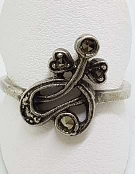 Sterling Silver Vintage Marcasite Ornate Twist Ring