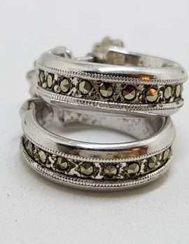 Sterling Silver Vintage Marcasite Hoop Screw-On Earrings