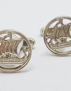Sterling Silver Vintage Round Viking Ship / Boat Cufflinks