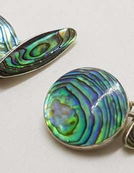 Sterling Silver Vintage Round and Oval Paua Shell Cufflinks