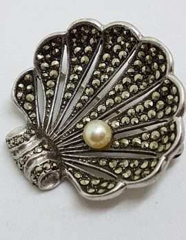 Sterling Silver Vintage Marcasite and Pearl Large Shell Brooch