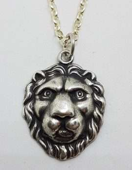 Sterling Silver Vintage Lion Head Pendant on Silver Chain