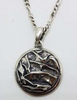 Sterling Silver Round Crinkle Design Pendant on Silver Chain