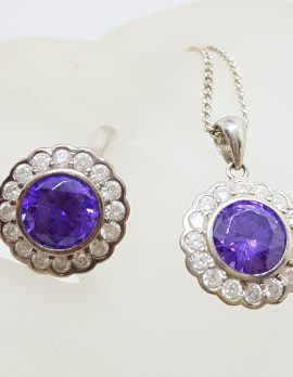 Sterling Silver Purple and Clear Cubic Zirconia Pendant on Silver Chain with Ring Set