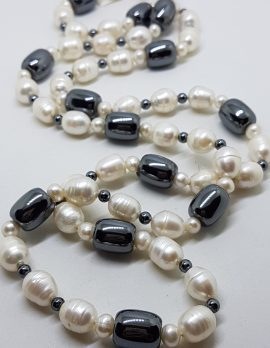 Long White Pearl and Black Hematite / Iron Ore Necklace