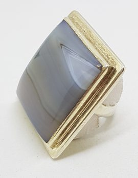Sterling Silver Large Square Banded Agate Ring