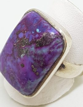 Sterling Silver Large Odd Shape Purple Mohave Turquoise Ring