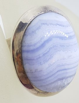 Sterling Silver Large Oval Blue Lace Agate Ring