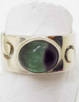 Sterling Silver Wide Oval Fluorite Wave Design Band Ring - Ladies / Gents