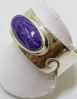 Sterling Silver Wide Oval Charoite Wave Design Band Ring - Ladies / Gents