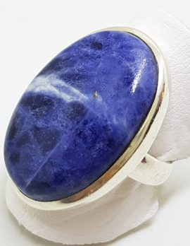 Sterling Silver Large Oval Blue Sodalite Ring