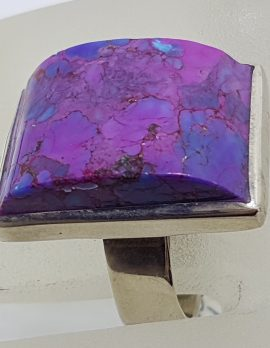 Sterling Silver Large Rectangular Purple Mohave Turquoise Ring