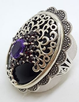 Sterling Silver Very Large Oval Ornate Filigree Art Deco / Art Nouveau Design Onyx, Garnet and Amethyst Ring