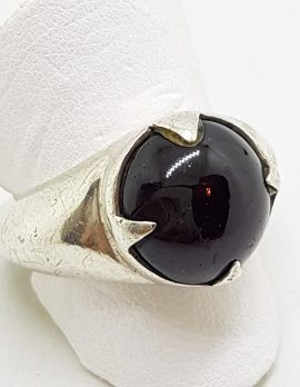 Sterling Silver Round Cabochon Garnet Ring - Ladies / Gents