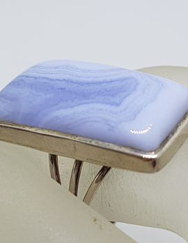 Sterling Silver Large Rectangular Blue Lace Agate Ring