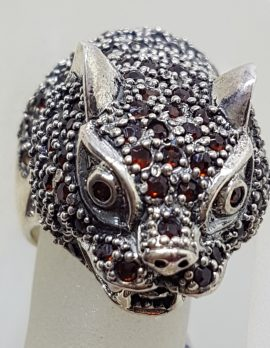 Sterling Silver Large Garnet Cat / Panther / Leapard Head Ring