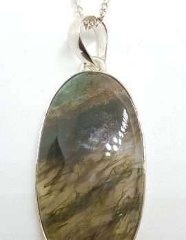 Sterling Silver Large Oval Moss Agate Pendant on Silver Chain