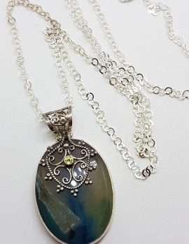 Sterling Silver Large Agate with Ornate Filigree set Peridot Pendant on Silver Chain