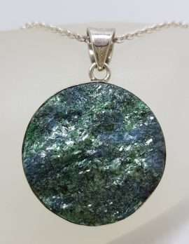 Sterling Silver Large Round Fuchsite Pendant on Silver Chain