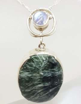 Sterling Silver Large Oval Seraphinite with Moonstone Pendant on Silver Chain