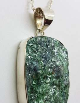 Sterling Silver Large Rectangular Fuchsite Pendant on Silver Chain