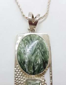 Sterling Silver Oval Seraphinite in Rectangular Setting with Green Amethyst / Prasiolite Pendant on Silver Chain