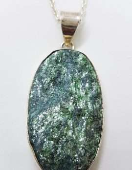 Sterling Silver Large Oval Fuchsite Pendant on Silver Chain