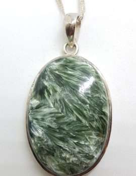 Sterling Silver Large Oval Seraphinite Pendant on Silver Chain