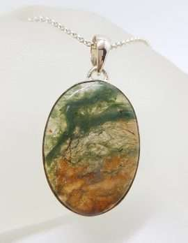 Sterling Silver Larg Oval Moss Agate Pendant on Silver Chain