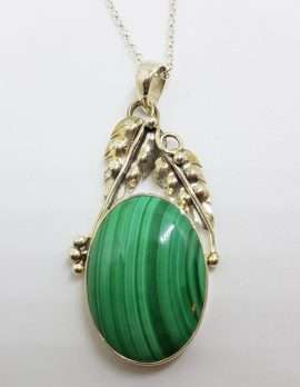 Sterling Silver Large Oval Malachite with Ornate Leaf Design Pendant on Silver Chain