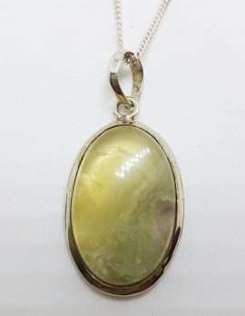 Sterling Silver Large Oval Gemstone Pendant on Silver Chain