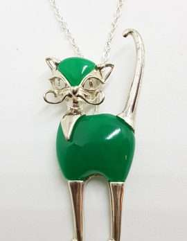 Sterling Silver Green Agate / Onyx Large Cat Pendant on Silver Chain